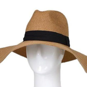 Straw Hat With Wide Band, Taupe